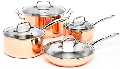 ExcelSteel Professional 8-Piece Triply Cookware Set with Stainless Steel Cast Handles and Knobs, Copper