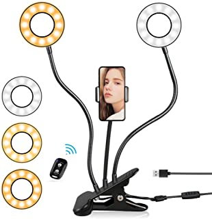 "4"" Selfie Ring Lights with Remote & Cell Phone Holder, Aureday Dimmable Phone Stand Desk Lamp with 3 Colors & 360°Rotation for Makeup & YouTube Live Stream"