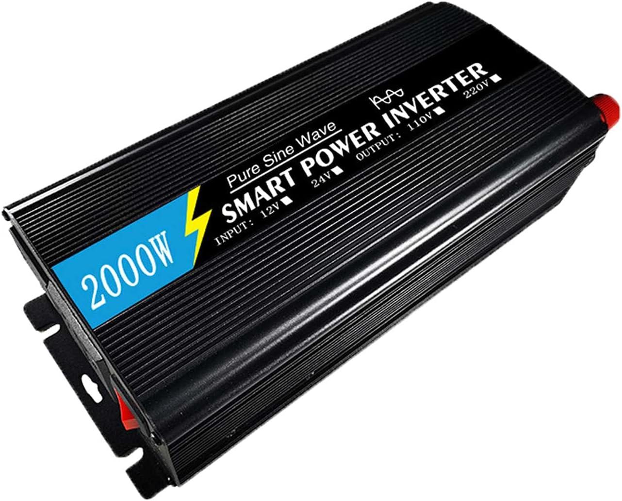 FDQNDXF Inversor de Onda Sinusoidal Pura de 1000 W / 1500 W / 2000 W / 3000 W DC 12 V / 24 V a CA 220 V Convertidor de Potencia con Enchufe, para el Hogar/al Aire Libre Inversor de Coche