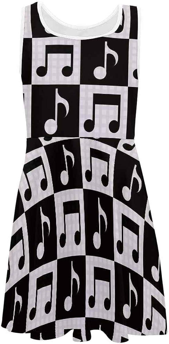InterestPrint Girls Casual Crew Neck Sleeveless Dress A-Line Dress Music Note on Stripe Background (2T-XL)