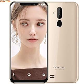 OUKITEL C12 UnlockedCellPhone Smartphone, 6.18 inch 19:9 Full Screen Display Android 8.1 Dual 3G SIM Free Mobile Phone,Quad-Core 2GB RAM+16GB ROM,8MP+2MP+5MP Cameras,Face ID+Fingerprint - Gold