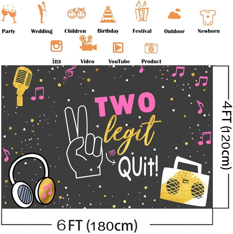 7x5ft Avezano Two Legit to Quit Birthday Backdrop Hip Hop Two Birthday Party Decoration Girls 2nd Birthday Party Dessert Table Banner