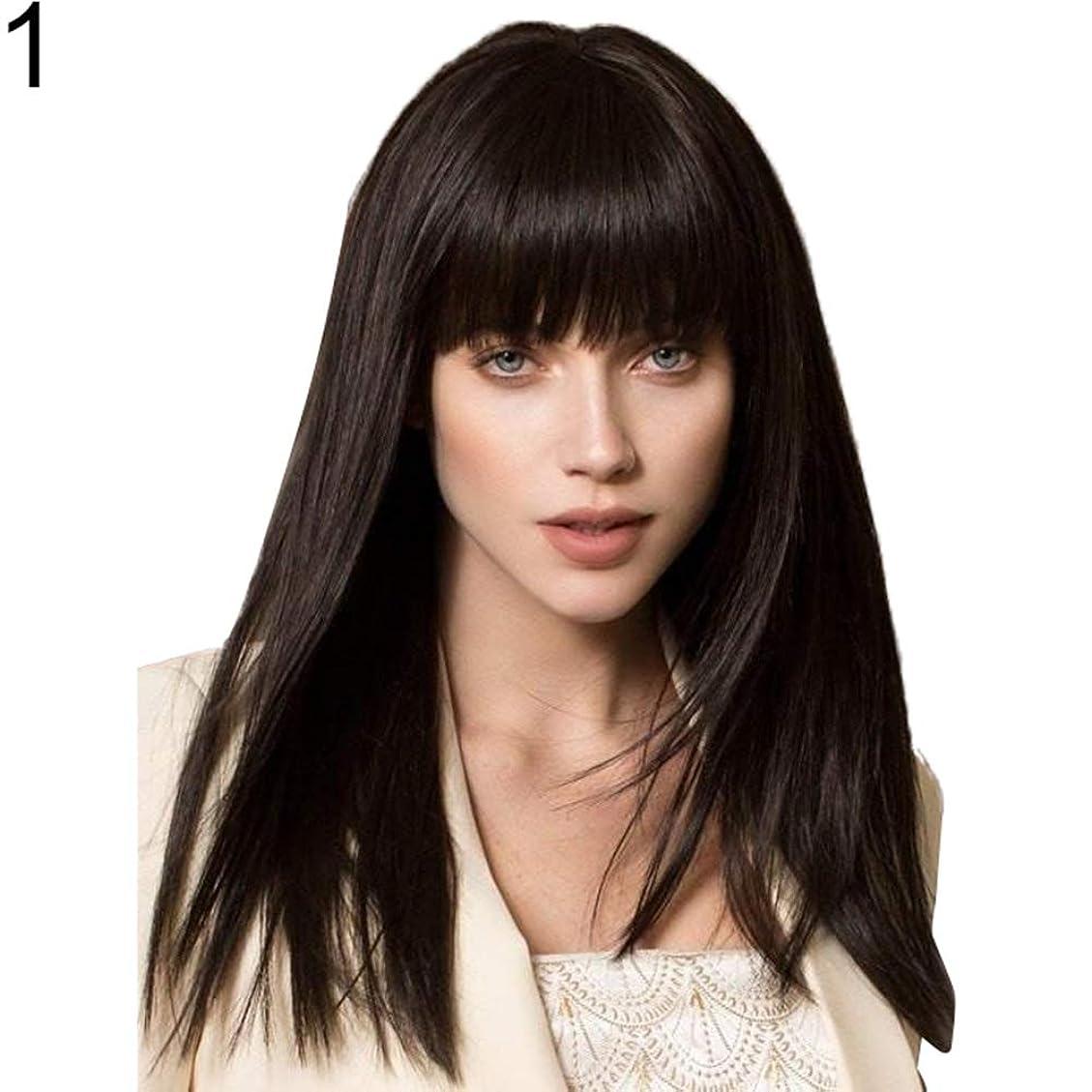 再集計オーブン傾向があるslQinjiansav女性ウィッグ修理ツール高温繊維女性長いストレートブラックブラウンバングウィッグ合成髪