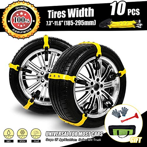 MeiLiMiYu Snow Chain for Car/SUV/Truck Tire Snow Chains 10 Pcs Snow Straps for Trucks Anti Slip Commercial Truck Accessories (Tire Width:7.2-11.6'')
