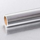 VEELIKE Papel Pared Autoadhesivo Aluminio Efecto Papel Pintado Cocina Papel de Pared de Vinilo...