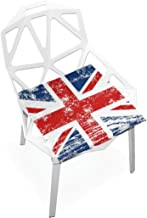 TSWEETHOME Comfort Memory Foam Square Chair Cushion Seat Cushion with UK British Flag Chair Pads for Hardwood Floors Dining Chairs Office Chairs