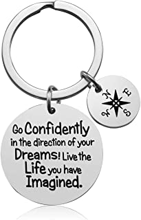 Inspirational Keychain Gifts - Go Confidently in The Direction of Your Dreams Live The Life You Have Imagined Compass Jewelry Graduation Gift Birthday Gift (Unique)