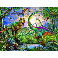XXCZB大人ペイントバイナンバーDIYキッズ油絵キットクリエイティブおもちゃアートホームデコ-森の恐竜家族