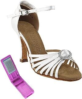 Very Fine Ballroom Latin Tango Salsa Dance Shoes for Women SERA1671B 2.5 Inch Heel+Foldable Brush Bundle