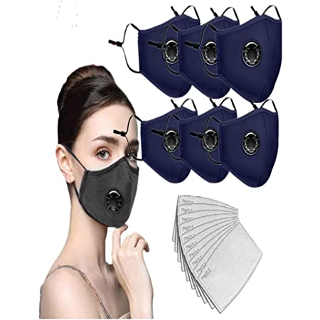 3PC+6 Filters WDNMD Cotton Face Protector with Breathing valve 6pc Activated Carbon Filter Replaceable Filters Face Health for Adults