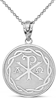Sterling Silver Chi Rho Alpha Omega Symbol Medallion Round Pendant Necklace