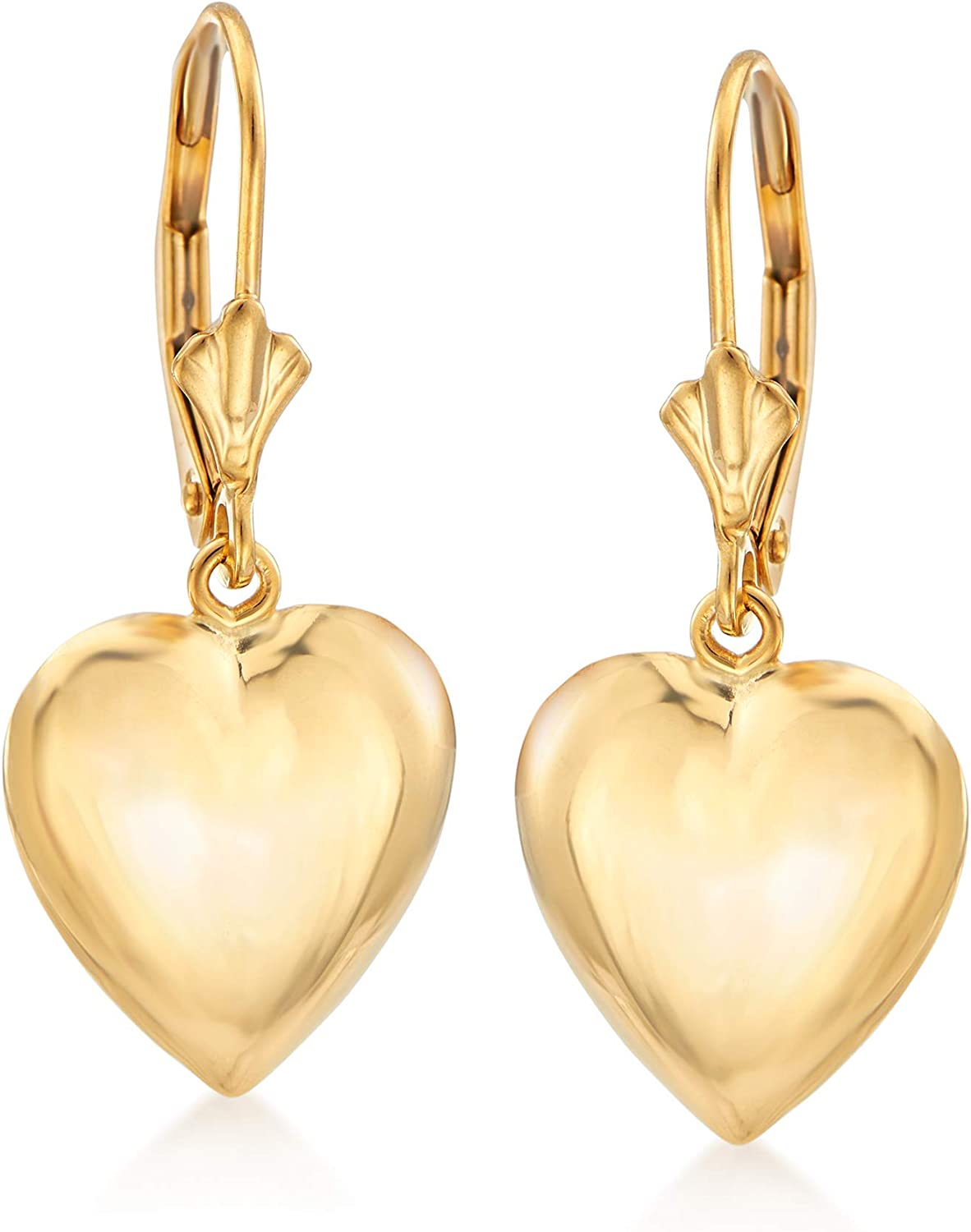 Ross-Simons 14kt Yellow Cheap mail order Don't miss the campaign shopping Gold Puffed Heart Earrings Drop