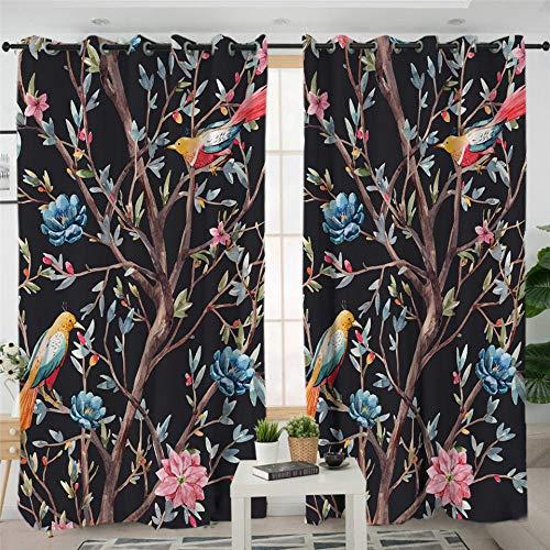 zpangg Gardinen Kinderzimmer Vogel Frühlingsblume 2Er-Set Vorhang Schal Verdunkelungsvorhang Blickdicht Für Wohnzimmer Schlafzimmer 184×214Cm