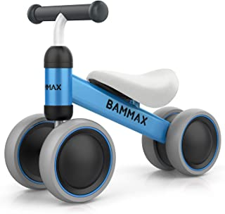 Bammax Baby Balance Bike, Baby Bicycle for 1 Year Old, Baby Walker Toddler Bike No Pedal, Kids Bicycle 4 Wheels Ride Toys for 9 Months - 24 Months Boys Girls, Kid's First Birthday Gift