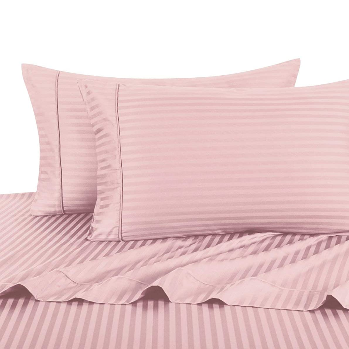 Royal Hotel Stripe Pink Standard Size Pillowcases, 2PC Pillow Cases, 100% Cotton, 300 Thread Count, Sateen Striped