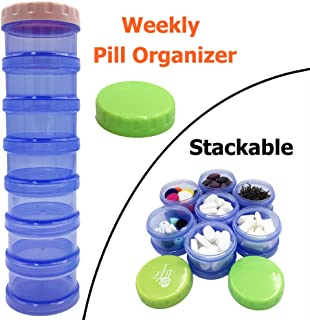 Weekly Pill Organizer, 7 Days Pill Case, Large Daily Travel Pill Case, Stackable Pill Box with Mosture Proof Design for Bag to Hold Pills/Vitamin/Fish Oil/Supplements/Medication