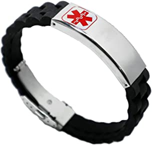 Aooaz Medical Bracelet Tag Silicone Black Silicone Bangle with Medical Sign Stainless Steel Bracelets Chain for Men