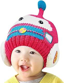Unisex Children Robot Cartoon Design Beanie Hat Winter Knitting Cap with Earflap