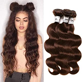 Ornate Hair 8A Grade Virgin Brazilian Body Wave Hair 3 Bundles 100g/bundle 100% Unprocessed Remy Human Hair Weave Extensions #4 Light Brown Full Head (10 12 14inch)