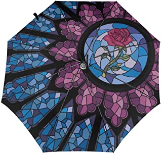 Enjeolon Windproof Automatic Umbrellas Stained Glass Rose Folding UV Protection Umbrella Carrying Bag