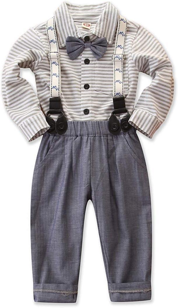mtxtechnology ni/ño beb/é ni/ño Caballero Traje Corbata de Lazo Camisa a Rayas Tirantes Pantalones Largos Traje