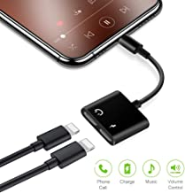 Headphone Jack Adapter for iPhone Xs MAX/XR/X/8/8 Plus/7/7 Plus/ipad/ 3.5mm Earphone Adaptor Charge Cable for iPhone Dongle Extension Cord Cable AUX Female Support for iOS All -Black