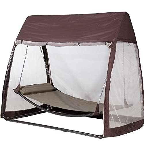 855c3849091 Abba Patio Outdoor Canopy Cover Hanging Swing Hammock with Mosquito Net  7.6x4.5x6.