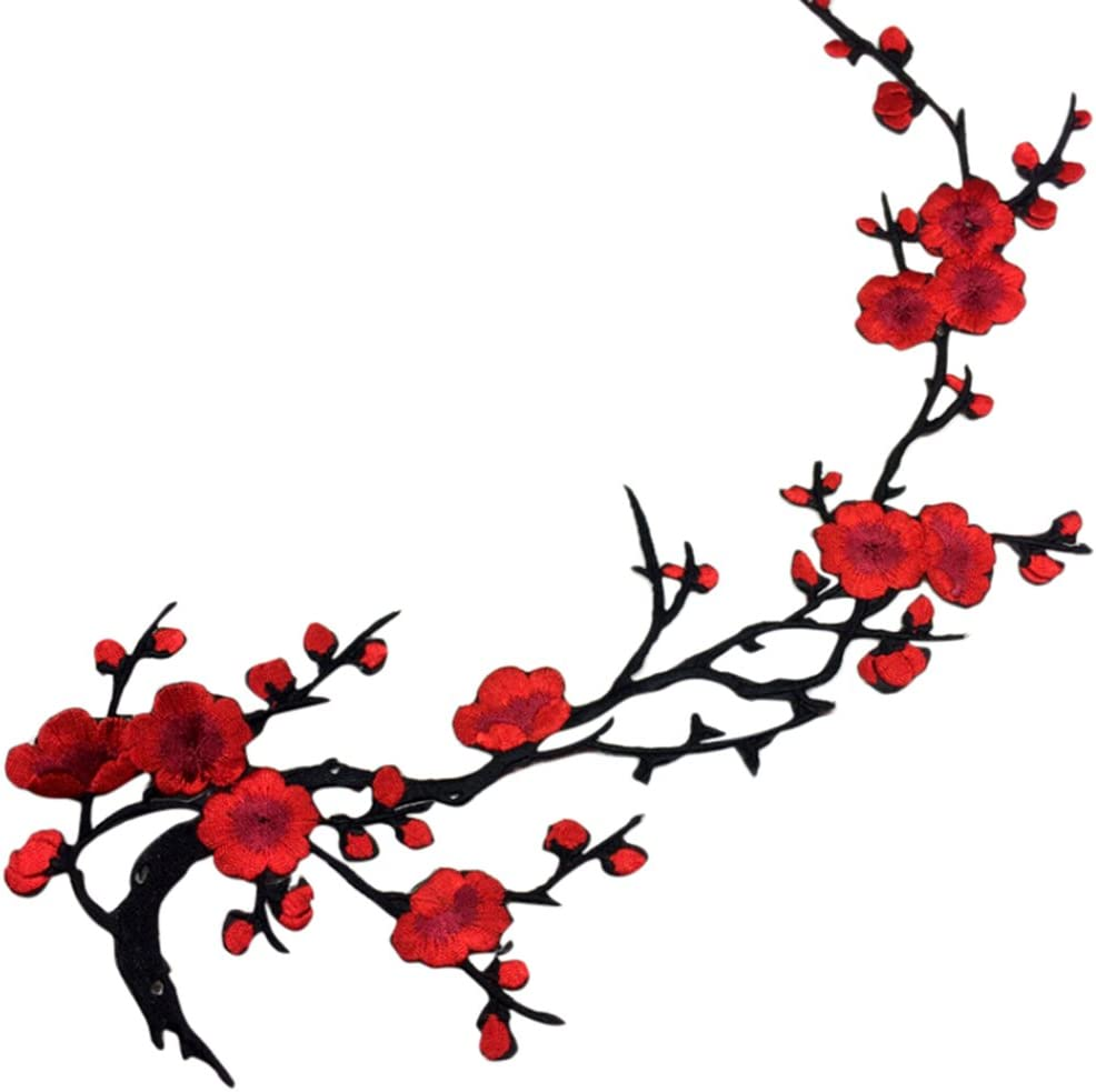 1 PCS Red Embroidered Special sale item Plum Blossom Iron Patch Appl Sew New Orleans Mall on Flower