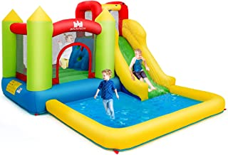 Costzon Inflatable Bounce House, Kids Water Slide with Climbing Wall, Jumping Area, Plash Pool, Including Oxford Carry Bag, Repairing Kit, Stakes, Hose (Without Blower)