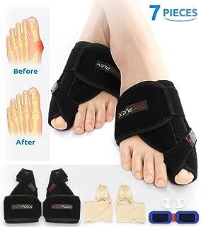 Doeplex Bunion Corrector and Bunion Relief 7 Pieces Kit, Big Toe Straightener for Women and Men Adjustable Bunion Splint, Treat and Prevent Hallux Valgus (Black, Men 4-6/Women 5-8)