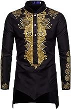 HaoDong Men's African Print Dashiki T-Shirt Long Sleeve Tops Blouse