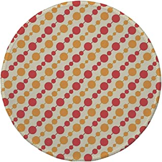 Non-Slip Rubber Round Mouse Pad,Kids,Diagonal Chain Pattern with Big and Small Dots on Lines in Shabby Colors,Scarlet Marigold Cream,11.8