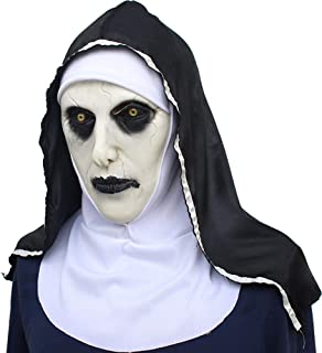 Calligraphy 2 Nuns Mask Halloween Ghost Festival Horror Movie Scared Female Ghost Face Cover White