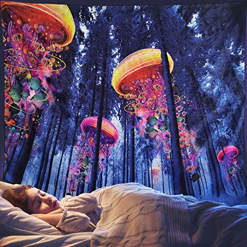 FairDew Nature Tapestry Wall Hanging Forest Landscape for Bedroom Living Hippie Trippy Tapestry Psychedelic College Décor Dorm Wall Blankets Cloth