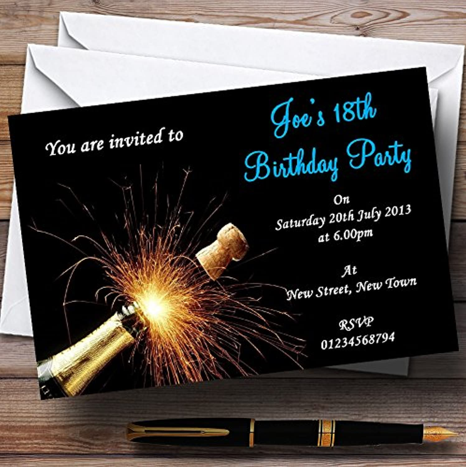 Champagne Cork bluee Personalised Party Invitations   Invites & Envelopes
