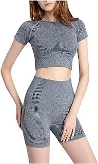 Women Workout Short Sleeve Crop T-shirt Shorts Pajama Set Quick Drying Sweatsuit