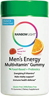 Rainbow Light - Men's Energy Multivitamin Gummy - Provides Antioxidants and Probiotics, Supports Energy, Immunity, and Digestion in Men (75 Count)