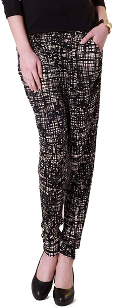 Forever Angel Women's 100% Pure Silk Knitted Trendy Baggy Pants Casual Harem Size L Black