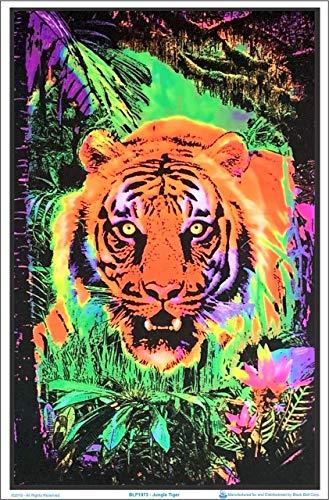 Opticz Jungle Tiger Blacklight Reactive Poster Blacklight Poster 23 x 35in