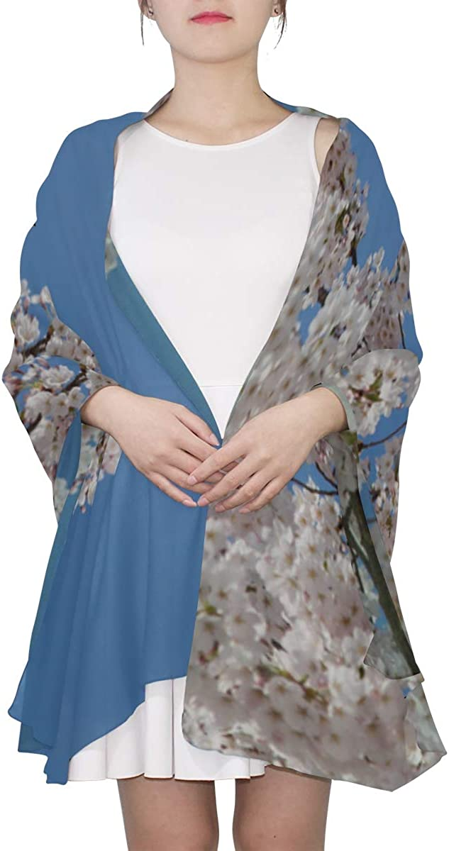 Fashion Lightweight Scarf Blue Sky Spring Blossom Flower Shawl And Wraps For Women Mens Scarf Wrap Lightweight Print Scarves Fashion Scarfs Women Cheap Scarf