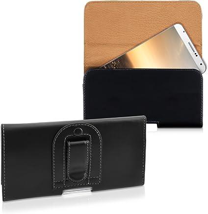 kwmobile Étui de Ceinture 16,1 x 9,2 cm pour Téléphone Portable - Étui Ceinture Universel Simili Cuir - Sacoche Smartphone avec Crochet - Noir