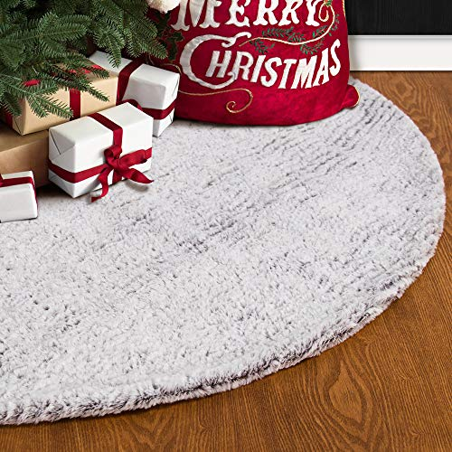 S-DEAL 32 Inches Faux Fur Christmas Tree Skirt Decoration Double Layers Soft Carpet Xmas Holiday Party Ornaments Indoor Outdoor Decorative Gift Grayish White