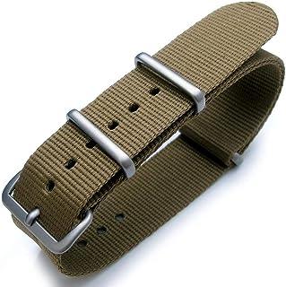 Cinturino per orologio G10 verde militare, cinturino in nylon pesante termosaldato, fibbia spazzolata