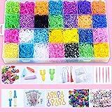Queta 28 Colores bandas para hacer pulseras 10000 Piezas gomas de pulseras con caja kit de pulseras con bandas de telar Y muchos pequeños accesorios