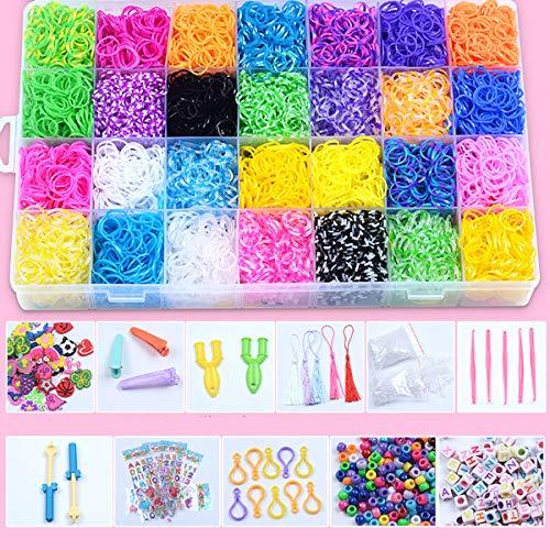 Queta 28 Colores bandas para hacer pulseras 10000 Piezas caja pulseras gomas kit de pulseras con bandas de telar Y muchos pequeños accesorios