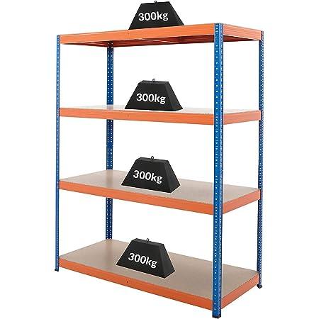 Certeo Rayonnage pour charges lourdes | HxLxP - 180 x 140 x 60 cm | Charge maximale de 300 kg par étagère | Profondeur 60 cm | Charge totale acceptable 1200 kg | Rayonnage métallique