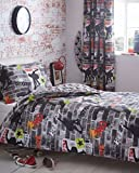 Kidz Club Ados King Size Housse de Couette et 2Taie d'oreiller Parure de lit Cool Skateboards et Graffiti Housse de Couette–Tricks, Gris