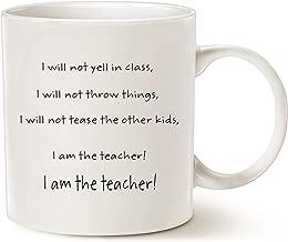 MAUAG Funny Teacher Coffee Mug Christmas Gifts, I Am the Teacher Best Teachers Day Gifts Cup White, 11 Oz