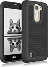 LG Treasure LTE Case, Jeylly [Shock Proof] [Black] Dual Layer Defender Protective Scratch Absorbing Hybrid Rubber Plastic Impact Defender Rugged Hard Case Cover Shield for LG Treasure LTE LG K7