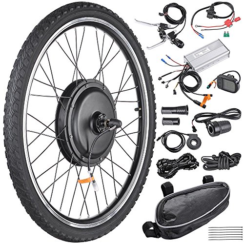 """AW 26""""x1.75"""" Front Wheel Electric Bicycle Motor Kit 48V 1000W Powerful Motor E-Bike Conversion w/LCD Display"""